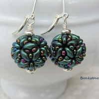 Teal green handwoven ball shaped earrings sterling silver lever backs