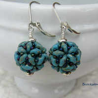 Turquoise Picasso  handwoven ball shaped earrings sterling silver lever backs