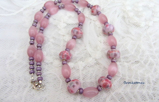 Pink and grey handmade lampwork necklace sterling silver fastening