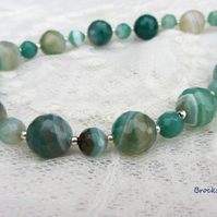 Emerald green Brazilian Agate birthstone necklace Gemini sterling silver