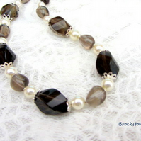 Smoky Quartz Libra birthstone necklace with Swarovski pearls and sterling silver