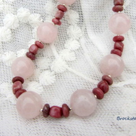 Rhodonite and Rose Quartz Virgo birthstone necklace sterling silver