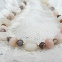 Pink Opal and Botswana Agate birthstone necklace sterling silver