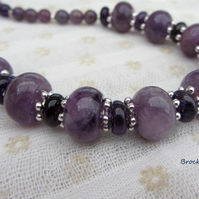 Amethyst and sterling silver birthstone necklace