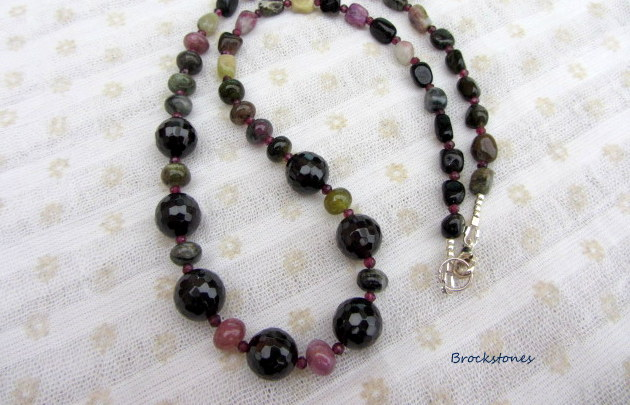 Tourmaline and Garnet necklace with sterling silver clasp