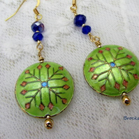 Lime green enamelled earrings with dark blue crystals