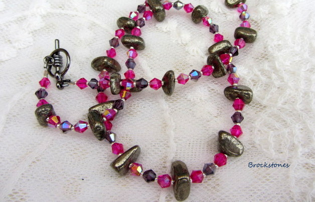 Pyrite and crystal birthstone necklace fuchsia pink purple