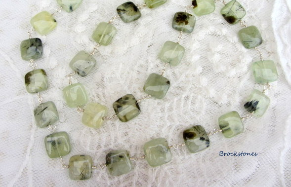 Prehinite gemstone necklace pale green Birthstone Libra