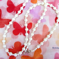 Mother of Pearl long beaded necklace