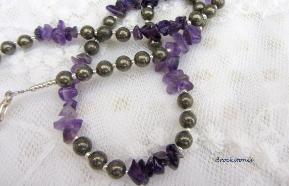 Amethyst and Pyrite handmade birthstone necklace