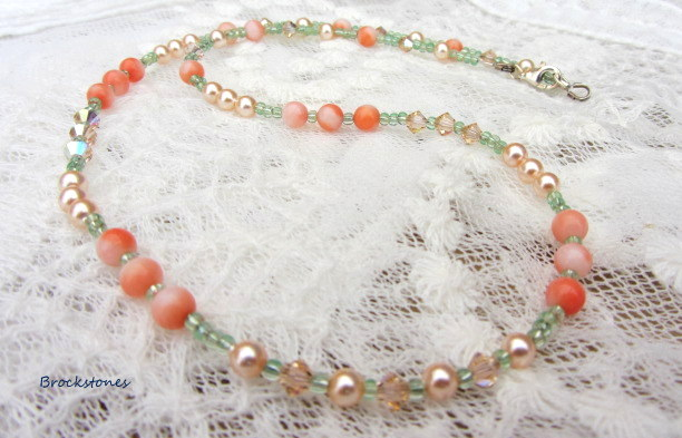 Swarovski pearl and crystal necklace with coral beads sterling silver clasp