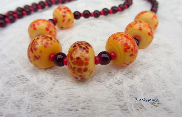 Lampwork artglass necklace deep yellow and red
