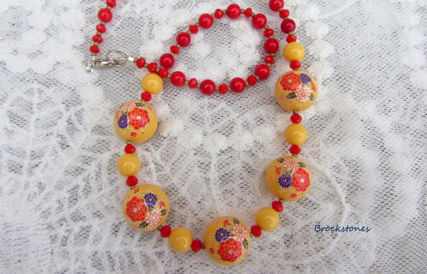 Deep yellow flower decal beaded handmade necklace sterling silver