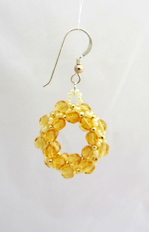 Amber crystal beadwoven hoop earrings with sterling silver ear fitting