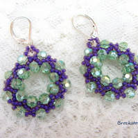 Green and purple Beadwoven hoop earrings with sterling silver ear fitting