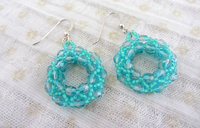 Crystal bead woven hoop earrings seafoam green