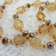 Amber toned autumnal long necklace