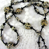 Dalmation Jasper and Black Agate long necklace