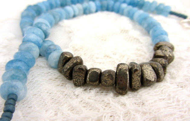 Chunky necklace with Brazilian Aquamarine and Pyrite