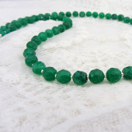 Emerald green agate necklace handmade