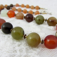 Soo chow jade necklace with peach aventurine and rhyolite
