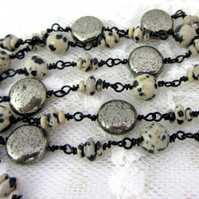 Pyrite discs and Dalmation Jasper wired necklace