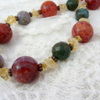 Fire agate and citrine autumnal necklace
