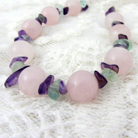 Rose Quartz necklace with Amethyst and Fluorite Virgo birthstone necklace
