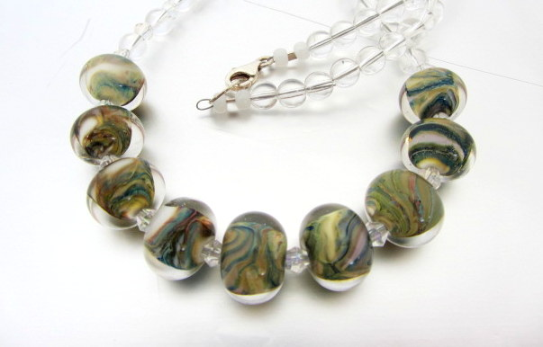 Multicolour lampwork glass necklace with Rock Crystal