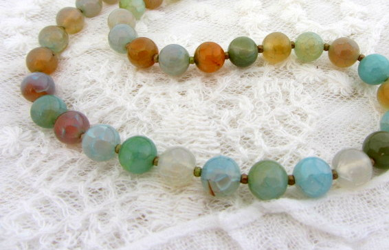Crack agate multi coloured necklace turquoise sterling silver