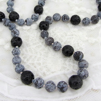 Lava bead long necklace black and grey