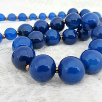 Cobalt blue beaded handmade necklace