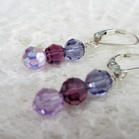 Swarovski facetted crystal earrings in pink purple and blue