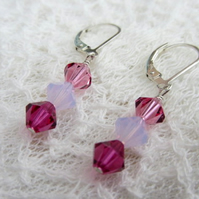 Shades of pink Swarovski bicone crystal earrings sterling silver earwires