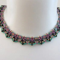 Egyptian collar necklace in blackcurrant, gold and raspberry