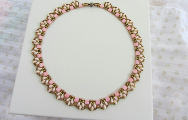Egyptian collar necklace in Tea Rose Cream and Gold