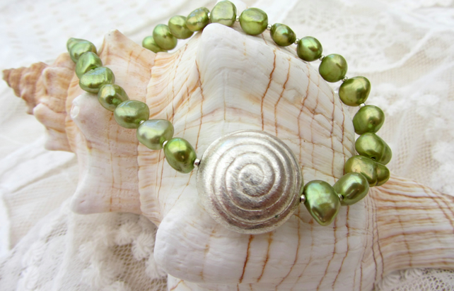 Lime green baroque freshwater pearl necklace