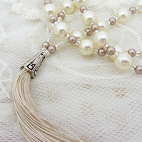 Swarovski pearl tassel necklace in cream and powder almond