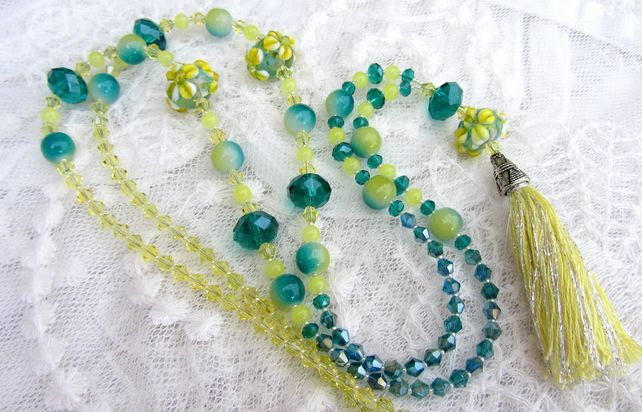 Summer flowers lampwork tassel necklace
