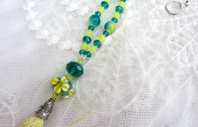 Sunmer flowers lampwork tassel necklace