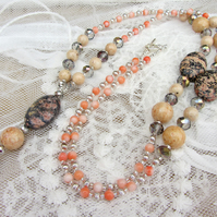 Coral and Riverstone tassel necklace
