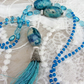 Peacock blue tassel necklace