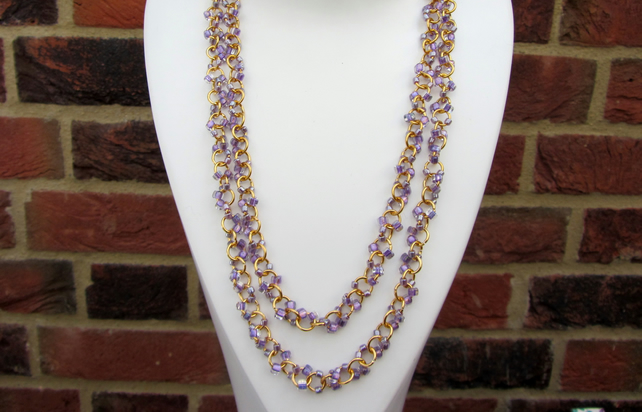 Long necklace 46 inches lavender chain linked Miyuki seed beads