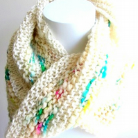 Winter white hand knitted neck warmer