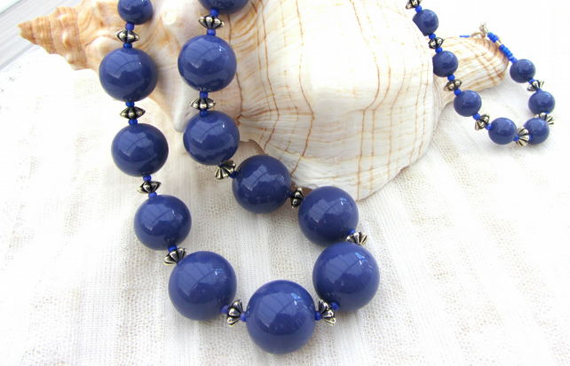 Deep blue beaded handmade necklace - length 24 inches