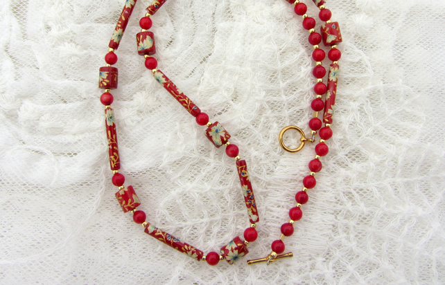 Chinese style beaded necklace red and gold