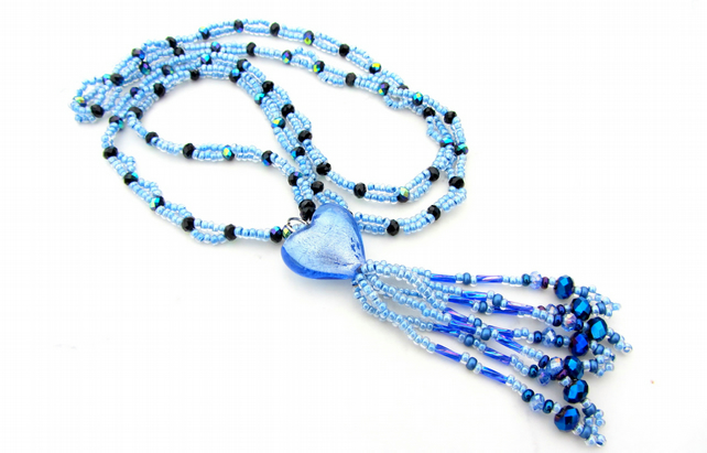 Hand made beaded tassel necklace in blue