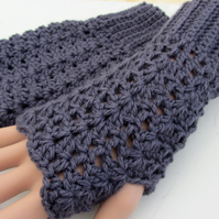 Fingerless texting mittens - Erica Knight - Blue Faced Leicester wool - crochet