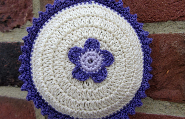 Crochet lavender sachet in purple cream and lavender