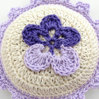 Crochet lavender sachet in lavender and cream